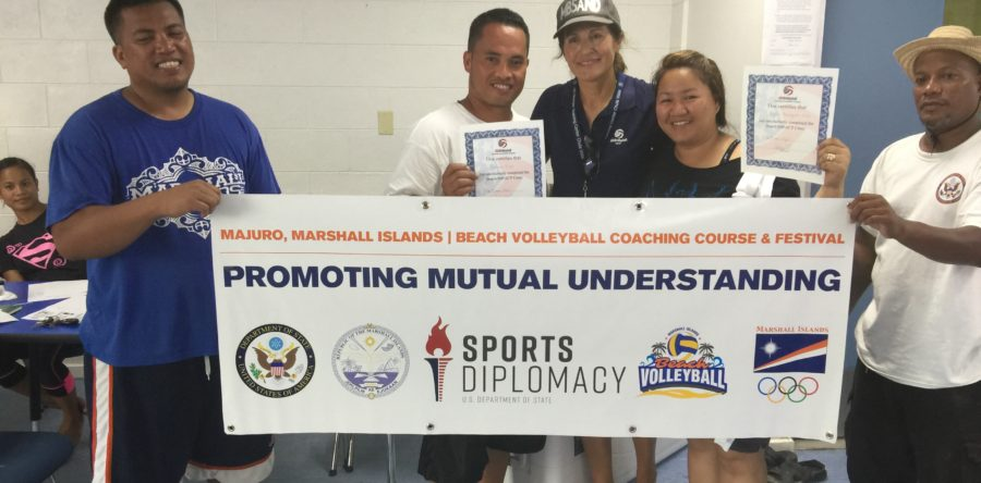 Patty Dodd teaches volleyball on the Marshall Islands